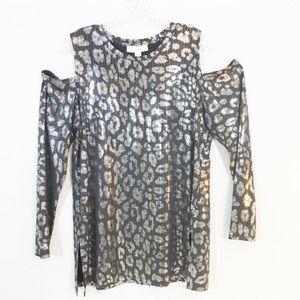 Michael Kors Cold Shoulder Top Black Metallic 1X